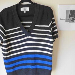 ST. JOHN Women's Black Striped Sweater Size XL